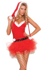 Santa's Sweetie costume includes tutu dress with adjustable and removable straps, belt, and Santa hood. Three piece set.