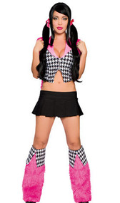 Sassy School Girl costume includes zipper front houndstooth vest with pink collar and pleated skirt. Two piece set.
