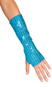 Sequin fingerless gloves. These are tubular arm sleeves that have a thumb hole cut out on the side.