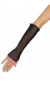 Sheer mesh fingerless gloves. End is open for the fingers. There is a hole on the side for the thumb.