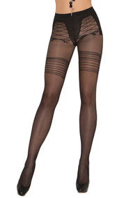 Sheer pantyhose with faux lace up detail