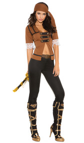 Treasure Pirate costume includes short sleeve top with lace trim, pants, belt and head scarf. Four piece set.