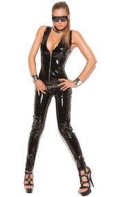 Vinyl sleeveless deep V catsuit with zipper front.