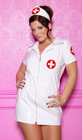 White vinyl mini dress with a seductive front zipper opening, short sleeves and collar. Medical cross cap completes the look.