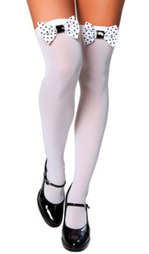Knee high stockings with polka dot bows.