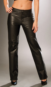 Leather pants with zipper front and snap closure.