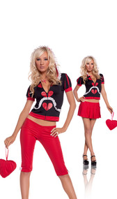 Wonderland Queen costume includes hoodie, capris, skirt, necklace and heart purse. Can be worn two different ways. Five piece set.