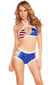Metallic American flag print criss cross halter top with square ring detail. Matching shorts with triple strap sides included. Two piece set.