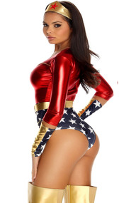 Seductive superhero costume includes metallic 3/4 long sleeve top with matching star-spangled high-waist shorts with attached belt. Set also includes matching headband and armbands.