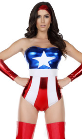 Super hero costume set includes strapless metallic bodysuit with stars and stripes detail, headband and gauntlets.