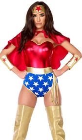 Super hero costume includes metallic strapless bodysuit, headband, cape, arm cuffs and lasso. Five piece set.