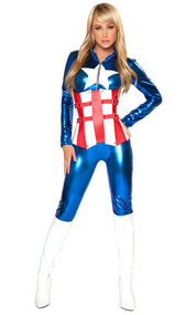 Super hero costume includes long sleeve metallic catsuit with zip front and star detail. Fully boned two tone waist cincher with buckle and stud detail and lace up back.