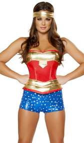 Super hero costume includes strapless leatherette corset with lace up back, metallic star shorts, and headband.