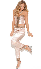 Charmeuse satin cami top with lace trim, underwire cups, front lace bow and adjustable straps. Matching pants with lace trim and elastic waistband. Two piece set.
