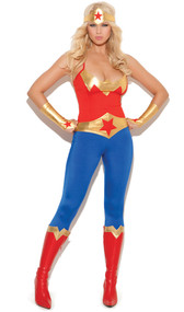 Super Hero costume includes cami top with adjustable straps, pants, belt, gloves and head piece. Back side of top and pants are plain. Boots not included. Five piece set.