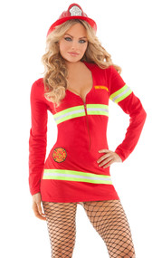 Light My Fire costume includes long sleeve zip front dress. Top patch says Fire Fighter, lower patch features Fire Dept logo.