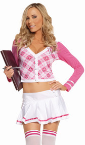"Campus Minx costume includes long sleeve argyle top with the letter ""V"" on upper left side, and pleated mini skirt. Two piece set."