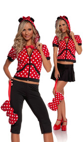 Miss Mouse costume includes hoodie with mouse ears, capris, skirt, necklace and bow purse. Five piece set. Can be worn two different ways.