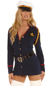Gentleman's Officer costume includes long sleeve button front dress, belt and vinyl hat. Three piece set.