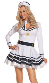 Anchors Away costume includes long sleeve dress, belt, neck scarf, and hat. Four piece set.
