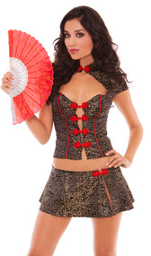 Lotus costume includes cami top, skirt and fan. Three piece set.