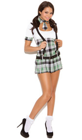 Prep School Priss costume includes short sleeve mini dress with belt, suspenders and tie with attached collar. Four piece set.