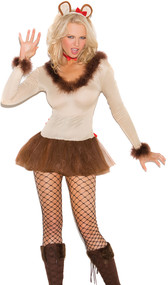 Lioness costume includes long sleeve tulle mini dress with fur trim, neck piece, head piece with satin bow detail, and detachable tail. Four piece set.