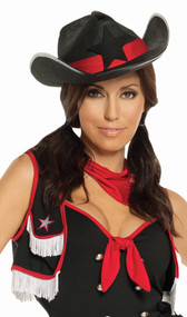 Cowgirl hat is made of stiff, thick black felt and features a red satin-like hatband and a black felt star on front.