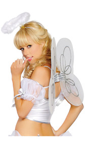 Mesh angel wings with silver glitter detail and matching feathered halo headpiece. Wings have elastic shoulder straps to keep them firmly in place.