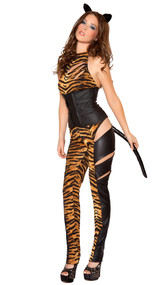 Tiger Temptress costume includes two-tone catsuit with slash detail, waist cincher with back lace up detail, ears and detachable tail. Four piece set.