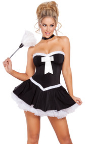 Sultry Maid costume includes flared skirt, tube top with bow detail, and feather duster. Three piece set.