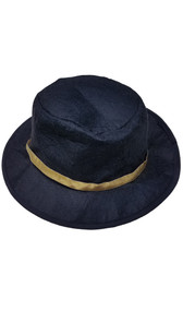 This black fedora style hat is made from a soft, bendable, felt material and features a shiny gold hatband.