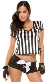 Out of Bounds Referee costume includes striped short sleeve crop top with breast pocket, lace up shorts with bow detail on front and back, whistle, and fingerless gloves. Four piece set.