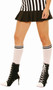 White knee high stockings with black stripes at top.