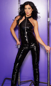 Vinyl catsuit with front zipper opening has a flattering halter-style top with snap collar that shows off shoulders and back.