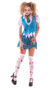 School Girl Specter zombie costume includes short sleeve button front shirt, vest, tie and pleated mini skirt. Four piece set. Tattered school girl uniform with fake blood spatter and hand prints.