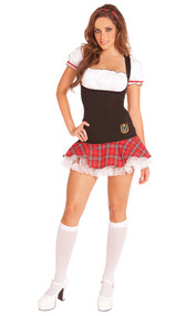 Frisky Freshman school girl costume includes dress and head band. Two piece set.