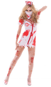 Bloodbath Betty costume includes tattered dress with fake blood stains, head piece, mask and stethoscope. Four piece set.