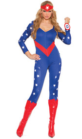 American Hero costume includes star print long sleeve jumpsuit, wrist band and head piece. Three piece set.