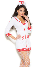 Cardiac Arrest Nurse costume includes three quarter sleeve zip front dress and head piece. Two piece set.