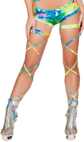 Tie dye leg strap with attached garter. 100 inches long. 2 per package.