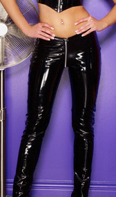 Black vinyl pants feature a full front to back zipper opening. No pockets.