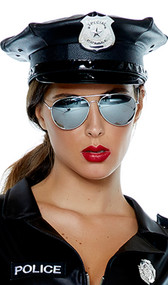 Vinyl police patrol hat features a faux patent leather brim, shiny band and silver button details.