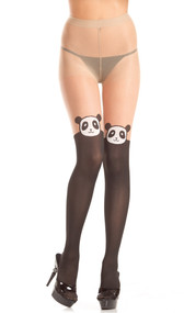 Sheer two-toned pantyhose with faux thigh high panda bear face design.