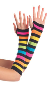 Elbow length fingerless gloves featuring alternating rainbow colors separated by black horizontal stripes. Gloves come to about mid palm and have a separate hole for the thumb.