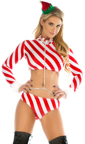 Candy cane striped holiday set includes long sleeve top with faux fur trimmed wrists and zip up back. Matching panty and fingerless gloves wristlets are also included.