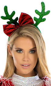 Reindeer antler headband with bow. Antlers and bow are glitter material. Headband is wrapped in green velvet.