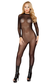 Long sleeve mesh catsuit with an open back.