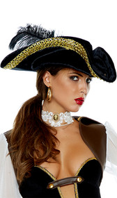 Black velvet pirate hat with gold lace trim around brim and black feather accent. Hat can be worn two ways.