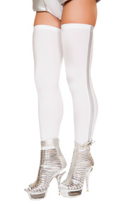 Thigh high astronaut leggings with silver stripes down the side.